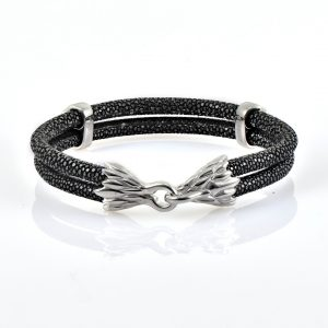 Black Stingray Leather With Silver Finishing