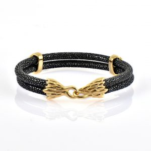 Black Stingray Leather With 18kt Plated Gold
