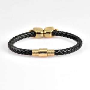 Black Leather Yellow Gold Twins Skull Bracelet 18kt Plated Gold