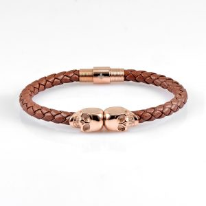 Coffee Leather Gold Twins Skull Bracelet 18kt Plated Gold